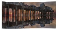 Old Orchard Pier Reflection Bath Towel