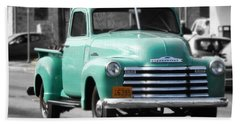 Old Pickup Truck Photo Teal Chevrolet Bath Towel