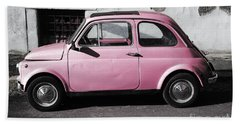 Old Pink Fiat 500 Hand Towel