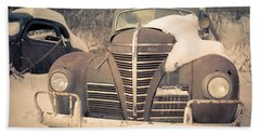 Old Plymouth Classic Car In The Snow Bath Towel