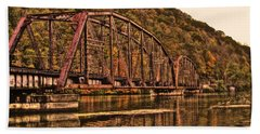 Hand Towel featuring the photograph Old Railroad Bridge With Sepia Tones by Jonny D