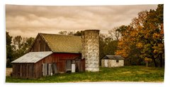 Old Red Barn And Silo Hand Towel