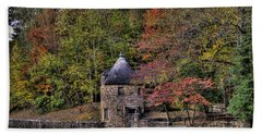 Bath Towel featuring the photograph Old Stone Tower At The Edge Of The Forest by Jonny D
