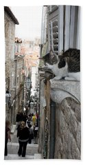 Old Town Alley Cat Bath Towel by David Nicholls
