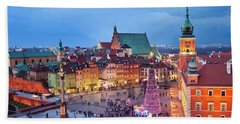 Old Town In Warsaw At Night Bath Towel