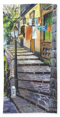 Bath Towel featuring the painting Old Village Stairs - In Tuscany Italy by Carol Wisniewski