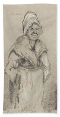 Old Woman From Normandy Full Face Pencil On Paper Bath Towel