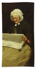 Old Woman Reading A Newspaper, 1895 Hand Towel
