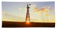 Old Wooden Windmill At Sunset, Pie Bath Towel