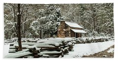 Bath Towel featuring the photograph Oliver's Log Cabin Nestled In Snow by Debbie Green