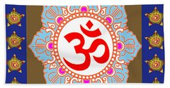 Bath Towel featuring the photograph Om Mantra Ommantra Chant Yoga Meditation Tool by Navin Joshi