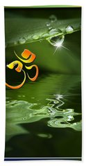 Bath Towel featuring the mixed media Om On Green With Dew Drop by Peter v Quenter