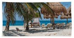 White Sandy Beach In Isla Mujeres Hand Towel
