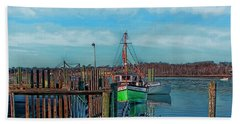 On The Dockside Bristol Rhode Island Bath Towel