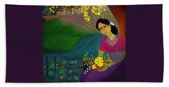 On The Eve Of Golden Shower Festival Bath Towel by Latha Gokuldas Panicker