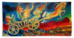On The Road To Rebbe Bath Towel by Leon Zernitsky