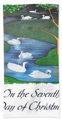 On The Seventh Day Of Christmas Bath Towel by Tracey Harrington-Simpson