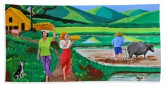 Hand Towel featuring the painting One Beautiful Morning In The Farm by Cyril Maza