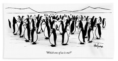 One Penguin In A Large Group Of Penguins Speaks Bath Towel