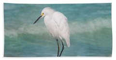 One With Nature - Snowy Egret Hand Towel