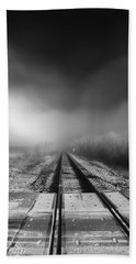 Onward - Railroad Tracks - Fog Hand Towel