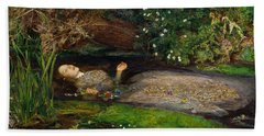 Ophelia  Hand Towel by John Everett Millais