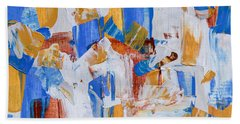 Bath Towel featuring the painting Orange And Blue by Heidi Smith