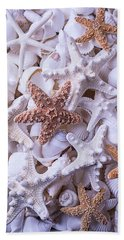 Orange And White Starfish Hand Towel