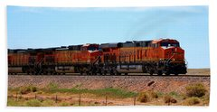 Orange Bnsf Engines Bath Towel