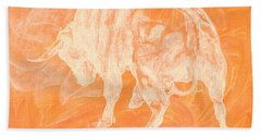 Orange Bull Negative Hand Towel