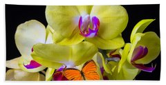 Orange Butterfly And Yellow Orchids Hand Towel