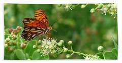 Hand Towel featuring the photograph Orange Butterfly by Marcia Socolik