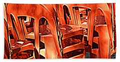 Orange Chairs Hand Towel by Valerie Reeves