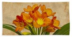 Orange Clivia Lily  Bath Towel by Sandra Foster