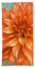 Orange Dahlia Hand Towel by Jane Schnetlage