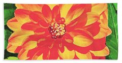 Hand Towel featuring the painting Orange Dahlia by Sophia Schmierer