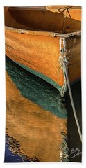 Bath Towel featuring the photograph Orange Dinghy In Warm Sun by Betty Denise