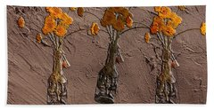 Orange Flowers Embedded In Adobe Hand Towel