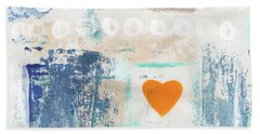 Orange Heart- Abstract Painting Hand Towel