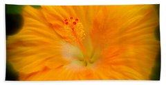 Orange Hibiscus Flower Hand Towel by Clare Bevan