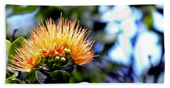 Orange Lehua On Volcano Ranch Bath Towel