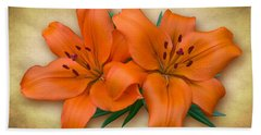 Orange Lily Bath Towel by Jane McIlroy