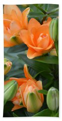 Orange Lily Bath Towel by Tine Nordbred