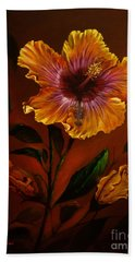 Orange Painted Hibiscus Bath Towel