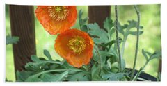 Hand Towel featuring the photograph Orange Poppies by HEVi FineArt