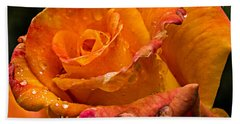 Orange Rose Drops Bath Towel