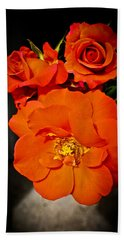 Hand Towel featuring the photograph Orange Rose Trio by Joann Copeland-Paul