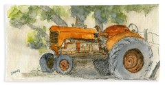 Orange Tractor Bath Towel