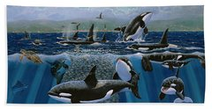 Orca Play Re009 Hand Towel by Carey Chen
