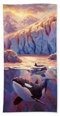 Orca Sunrise At The Glacier Hand Towel